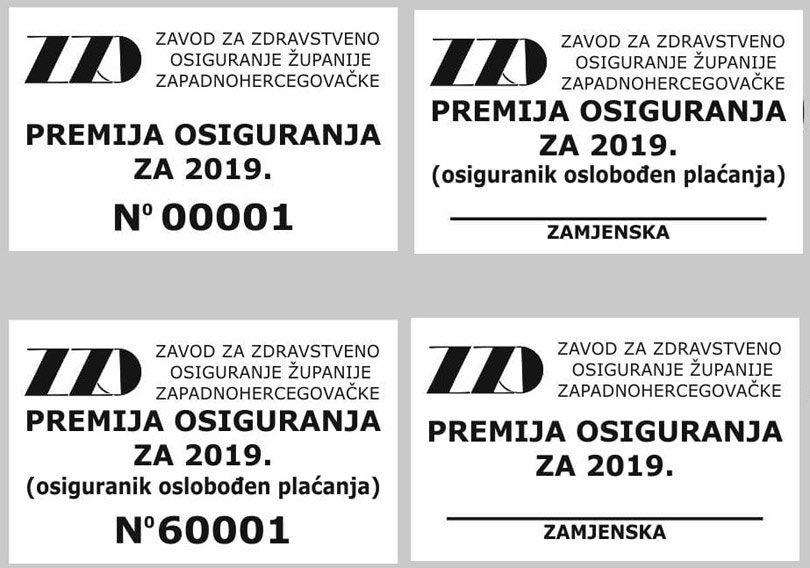 Zavod za zdravstveno osiguranje Županije Zapadnohercegovačke u ponedjeljak, 17. prosinca 2018. godine, započinje distribuciju premija osiguranja – markica za 2019. godinu
